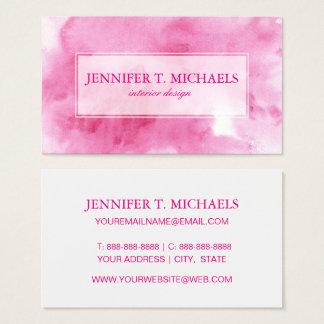 Tarjeta De Visita fondo rosado de la acuarela para su