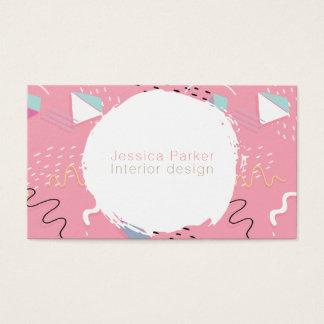 Tarjeta De Visita Formas bosquejadas rosa retro del Doodle de los