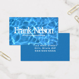 Tarjeta De Visita Foto azul del agua de la piscina de la aguamarina
