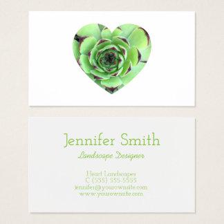 Tarjeta De Visita Foto suculenta verde de la forma del corazón