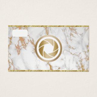 Tarjeta De Visita Fotografía de mármol de moda de la cámara del oro