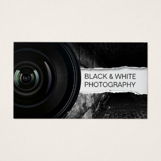 Tarjeta De Visita Fotografía negra del fotógrafo y blanca elegante