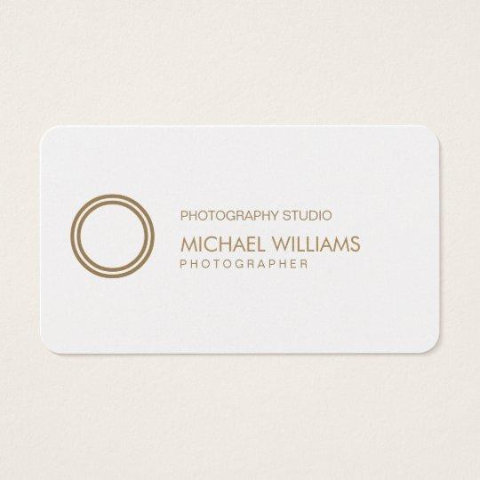 Tarjeta De Visita Fotógrafo - Profesional elegante símbolo blanco