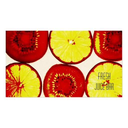 tarjeta de visita fresca del bar de zumos de la fr