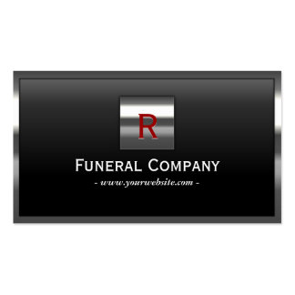 Tarjeta de visita fúnebre del monograma de acero d