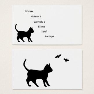 Tarjeta De Visita Gato negro con el palo