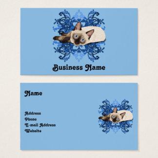 Tarjeta De Visita Gato siamés con diseño floral azul