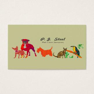 Tarjeta De Visita Gatos lindos de moda de los perros de los animales