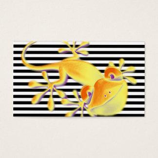 Tarjeta De Visita Gecko sonriente en rayas negras + su texto
