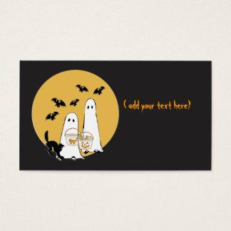 Tarjeta De Visita ghosties de Halloween en negro,