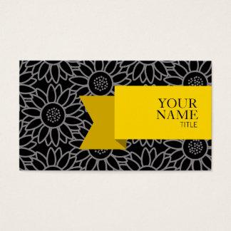Tarjeta De Visita Girasol negro y Titanium de la cinta de oro