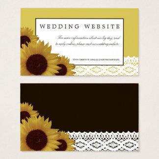Tarjeta De Visita Girasoles y Web site del boda del cordón del