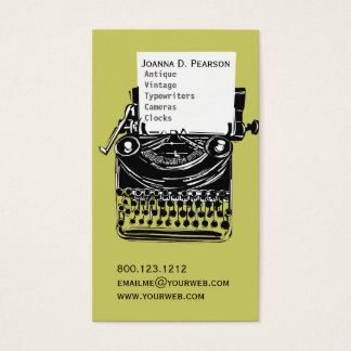Tarjeta De Visita Graduado Verde-Negro del escritor de la máquina de