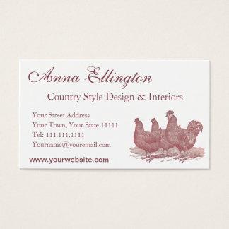 Tarjeta De Visita Granja de pollos roja de Plymouth Rock del gallo y