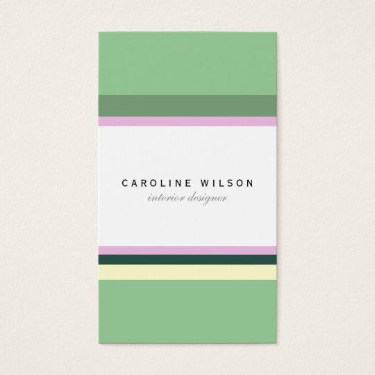 Tarjeta De Visita Green pink lines colorful minimal elegant classy