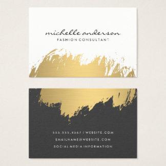 Tarjeta De Visita Gris blanco cepillado falso oro