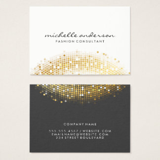 Tarjeta De Visita Gris blanco de la lentejuela atractiva del oro