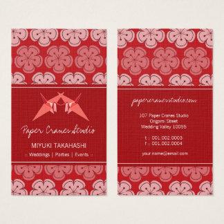 Tarjeta De Visita Grúas de papel de Origami y flores de cerezo rojas