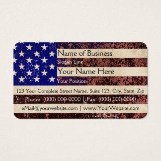 Tarjeta De Visita Grunge del vintage de la bandera americana