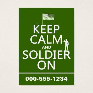 Tarjeta De Visita Guarde la calma y al soldado en (bandera) de los