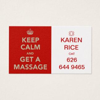 Tarjeta De Visita guarde la calma y consiga un masaje II