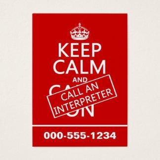 Tarjeta De Visita Guarde la calma y llame a un intérprete (en