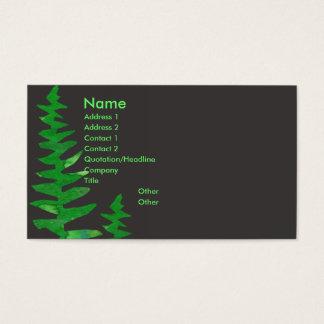 Tarjeta De Visita Helecho verde tropical de la acuarela profesional