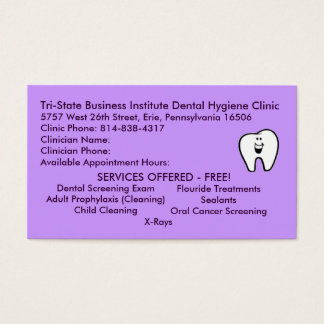 Tarjeta De Visita Higiene dental de triple estado