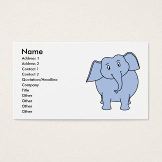 Tarjeta De Visita Historieta azul linda del elefante