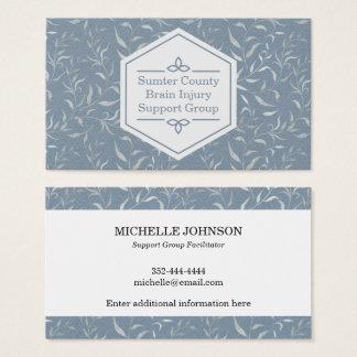 Tarjeta De Visita Hojas elegantes del gris en azul del vintage