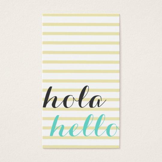Tarjeta De Visita Hola hello, intérprete traductor profesor idiomas