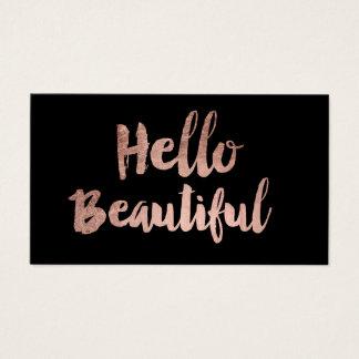 Tarjeta De Visita Hola negro color de rosa elegante hermoso de la
