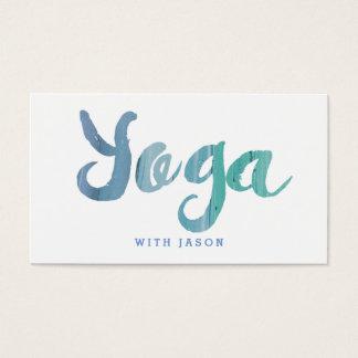 Tarjeta De Visita Instructor azul moderno de moda de la yoga