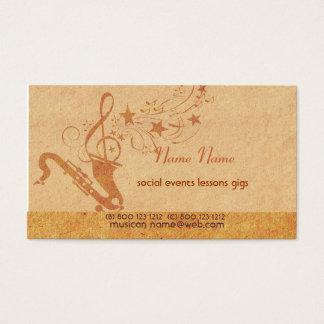 Tarjeta De Visita Instrumentos musicales del cuerno del saxofón de