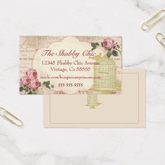 Tarjeta De Visita Jaula de pájaros del vintage con los rosas