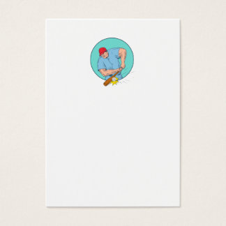 Tarjeta De Visita Jugador de béisbol que golpea un dibujo de Homerun