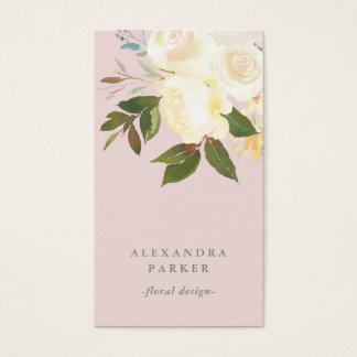 Tarjeta De Visita La acuarela de marfil floral encendido se ruboriza
