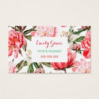 Tarjeta De Visita La acuarela rosada de los Peonies florece floral