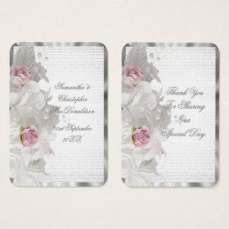 Tarjeta De Visita La bodas de plata floral blanca le agradece marcar