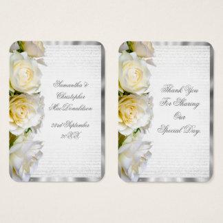 Tarjeta De Visita La bodas de plata floral y del rosa blanco le