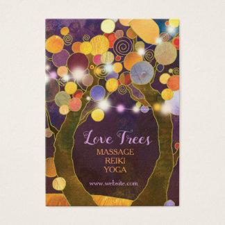 Tarjeta De Visita La secuencia enciende árboles de amor púrpuras