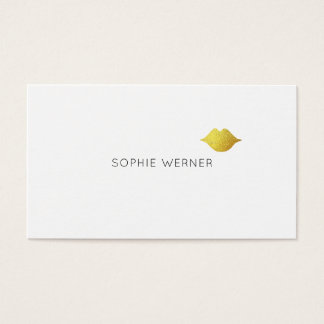 Tarjeta De Visita labios elegantes mínimos/minimalistas del oro de