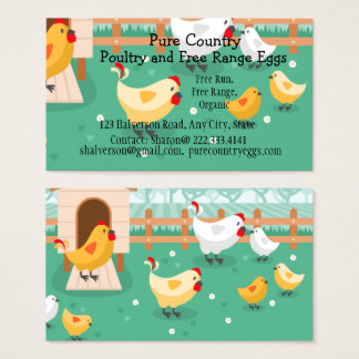 Tarjeta De Visita Las aves de corral, granja de pollo Eggs de