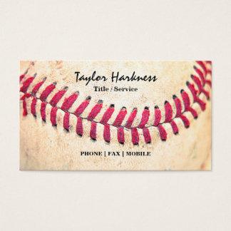 Tarjeta De Visita Las puntadas rojas del béisbol del vintage se