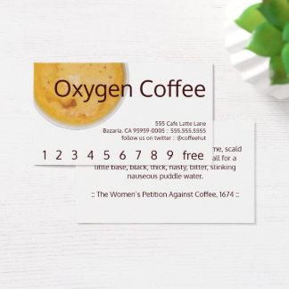 Tarjeta De Visita Lealtad de la bebida del café del oxígeno/tarjeta