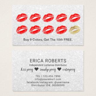 Tarjeta De Visita Lealtad de plata de los labios rojos del