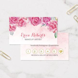 Tarjeta De Visita Lealtad floral del salón de la acuarela del