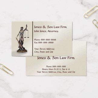 Tarjeta de visita legal del símbolo del abogado