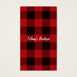 Tarjeta De Visita leñador rojo de la tela escocesa del búfalo del