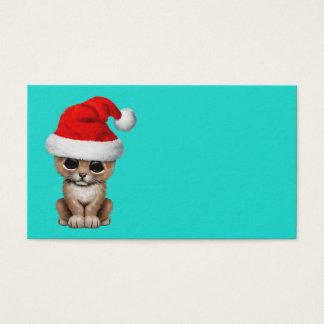 Tarjeta De Visita León Cub lindo que lleva un gorra de Santa